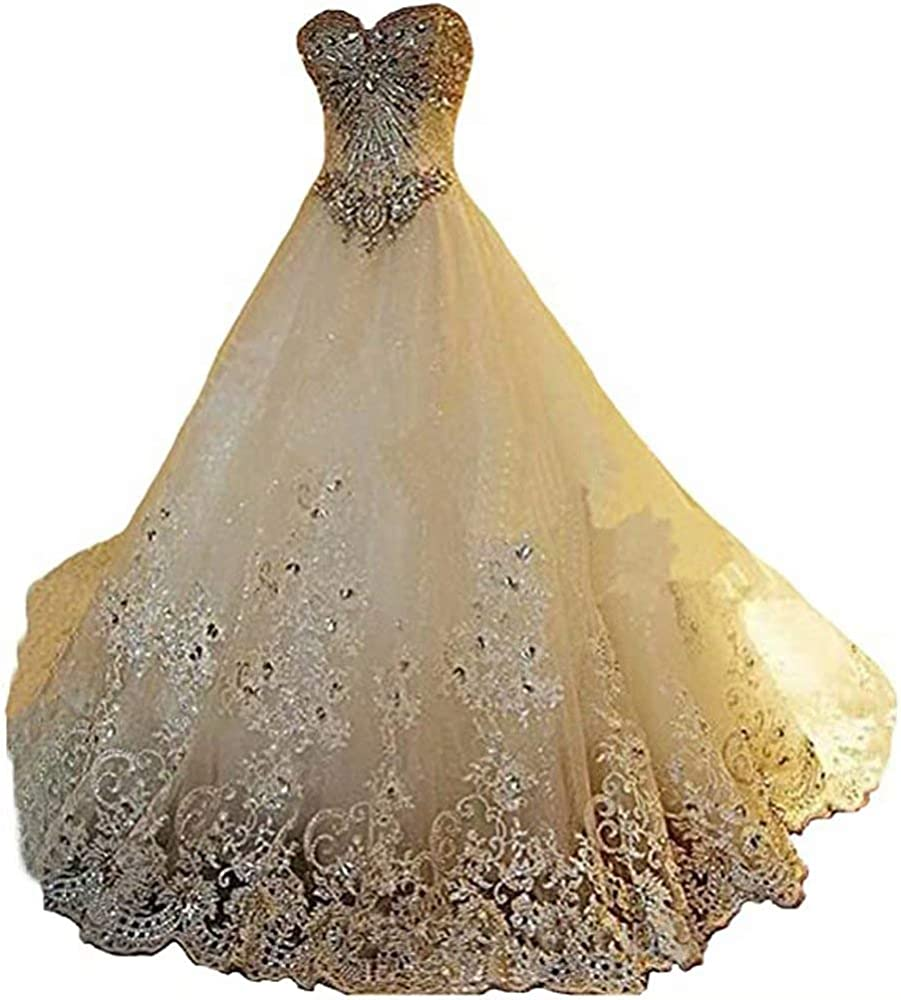 Yuxin Luxury Sweetheart Crystal Beaded Wedding Dress 2021 Princess Long Train Lace Ball Gown Bridal Dresses At Amazon Women S Clothing Store