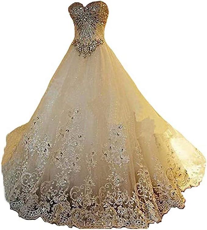 Yuxin Luxury Sweetheart Crystal Beaded Wedding Dress 2021 Princess Long Train Lace Ball Gown Bridal Dresses