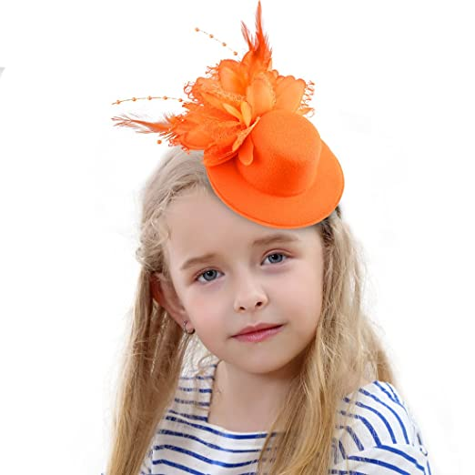 15fd73f51 HOLDOOR Fascinator Hats Feather Fascinators for Girls Little Fascinator  Headband Hat for Girl's Dancing Party Fashion Show