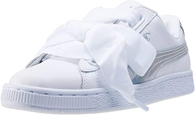 white puma basket heart trainers