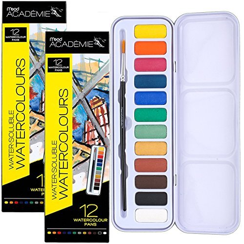 Mead 2 Pack Watercolor Painting Set, 12 Colors and Paint Brush in Travel Tins