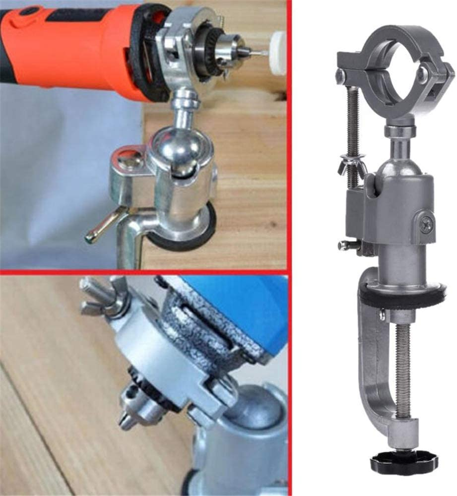 xnbnsj 360 Degree Rotating Aluminum Alloy Clamp-on Bench Vise Electric Drill Clamp Holder Stand Rack