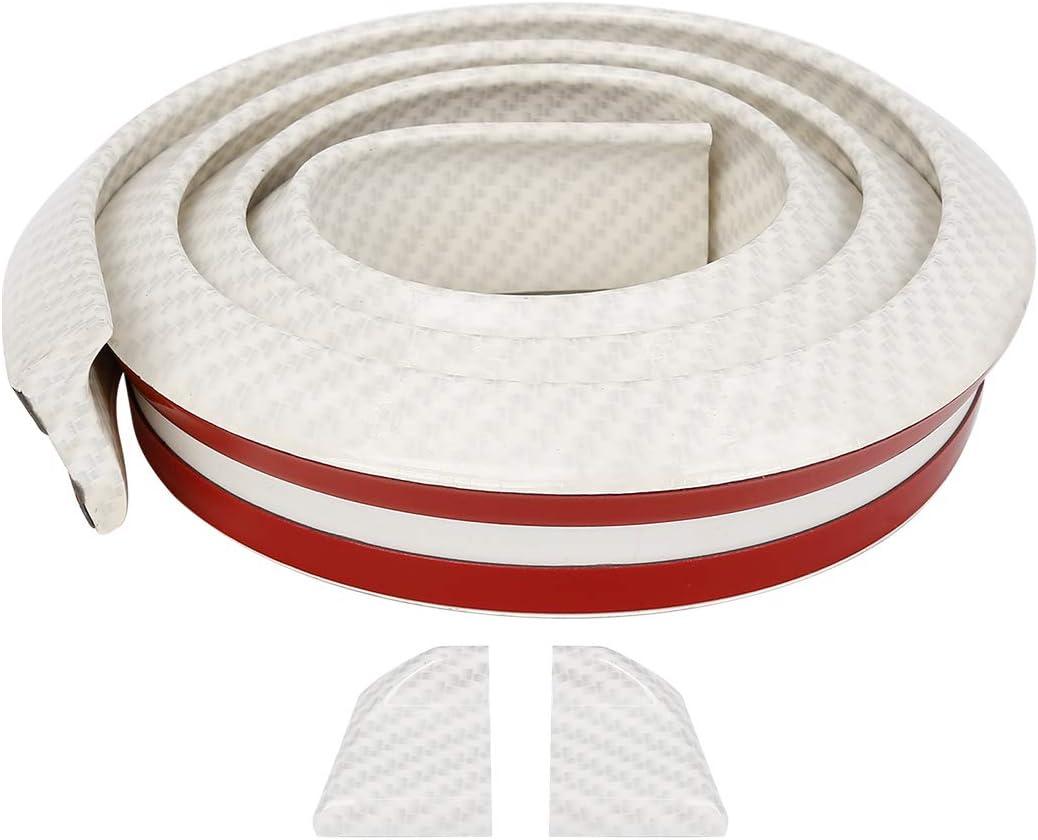 X AUTOHAUX 59 Carbon Fiber Pattern White Car Rear Spoiler Wing Rubber Lip Tail Trunk Roof Trim Sticker