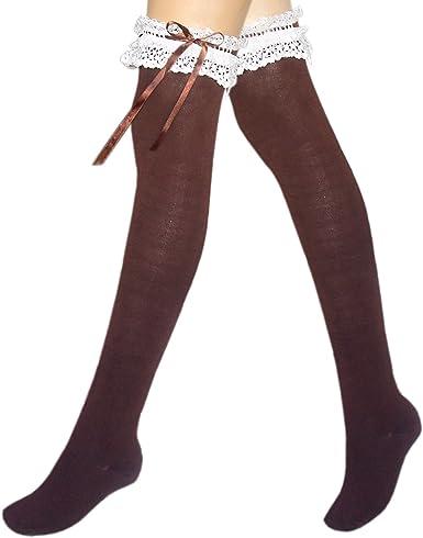 JHosiery Medias de algodón para mujer sobre la rodilla con encaje ...