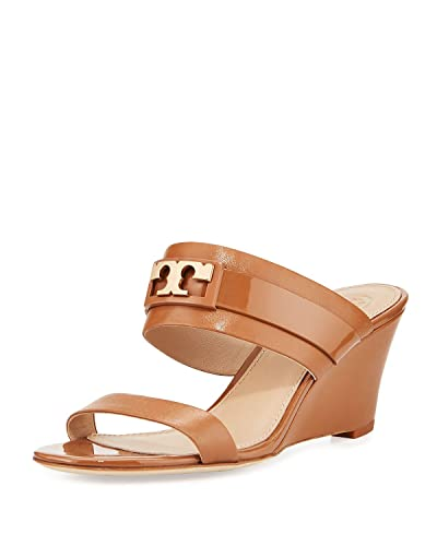 1636059c77c Tory Burch Gigi Leather Two-Band Slide Wedge Sandal (Royal Tan) (9.5