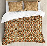 Arabian Queen Size Duvet Cover Set by Ambesonne, Colorful and Geometric Patterns with Persian Ethnic Art Elements Eastern Bohemian, Decorative 3 Piece Bedding Set with 2 Pillow Shams, Multicolor
