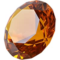 LONGWIN 80mm(3.1 inch) Crystal Diamond Paperweight Jewels Wedding Decorations Centerpieces Home Decor (Amber)