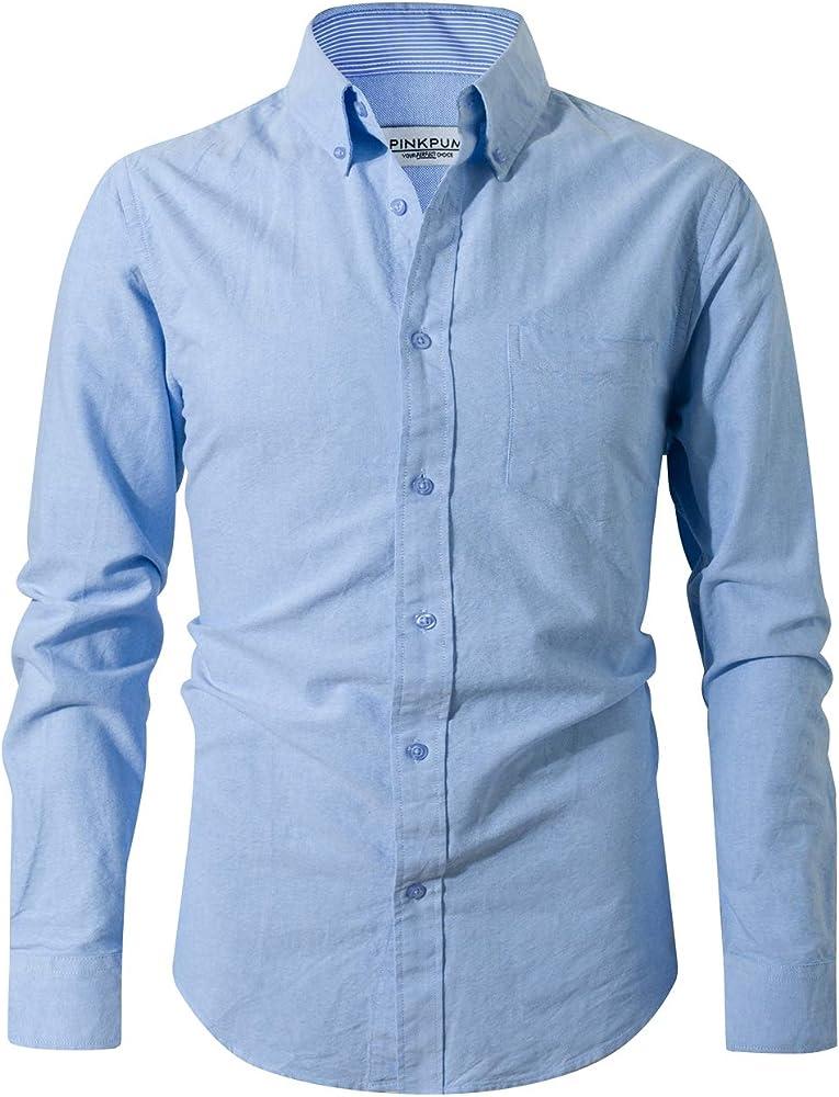 Pinkpum Oxford Camisa para Hombre Manga Larga Camisa Casual Básico Clásico Azul S: Amazon.es: Ropa y accesorios
