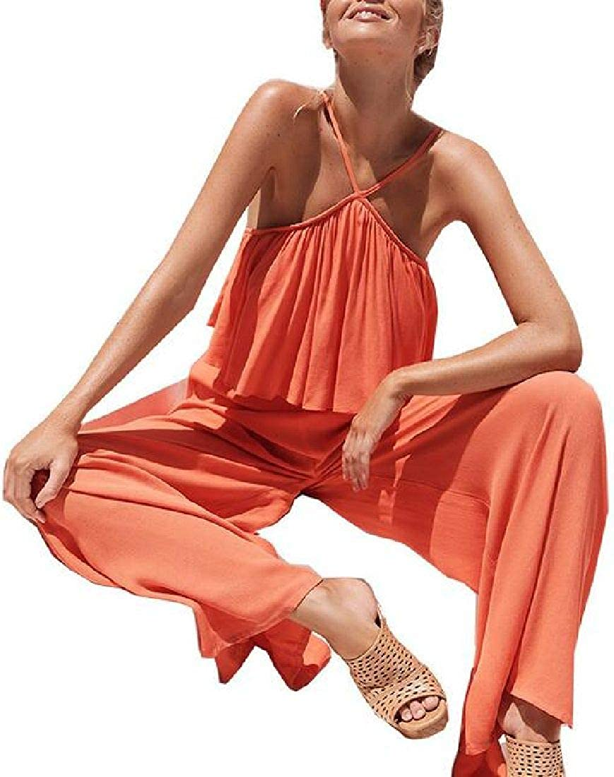 Fubotevic Womens Summer Backless Loose Fit Halter Casual Rompers Jumpsuit
