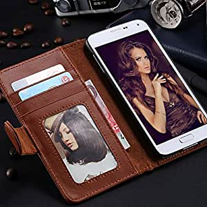 High Quality PU Leather Photo Frame Case For Samsung Galaxy S5 SV i9600 Wallet Stand Style Cover RCD03814 --- Color:Sky Blue