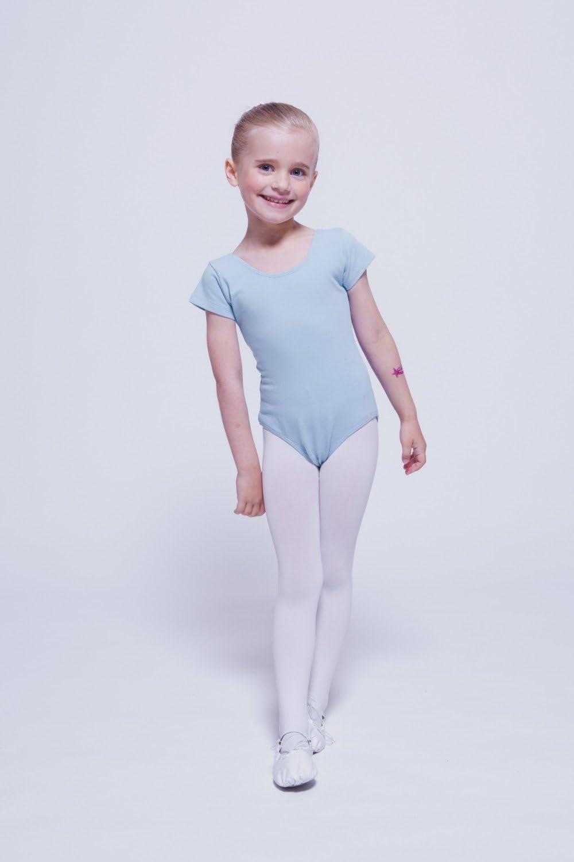 """tanzmuster Kinder Kurzarm Ballettanzug /""""Sally/"""" schwarz Ballett Trikot Tanzanzug"""
