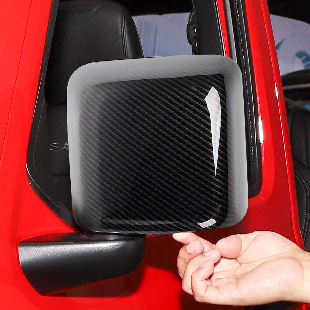 Car Review Mirror Covers Shell Trim Decoration for Jeep Wrangler JL JLU 2018 2019 Carbon Fiber