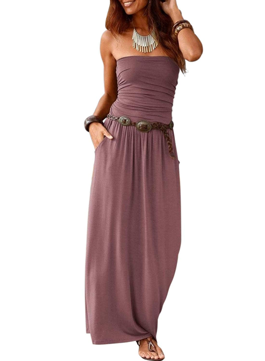 881873b564 AlvaQ Women Summer Casual Strapless Maxi Dress Off Shoulder Tube Long  Dresses with Pockets at Amazon Women's Clothing store: