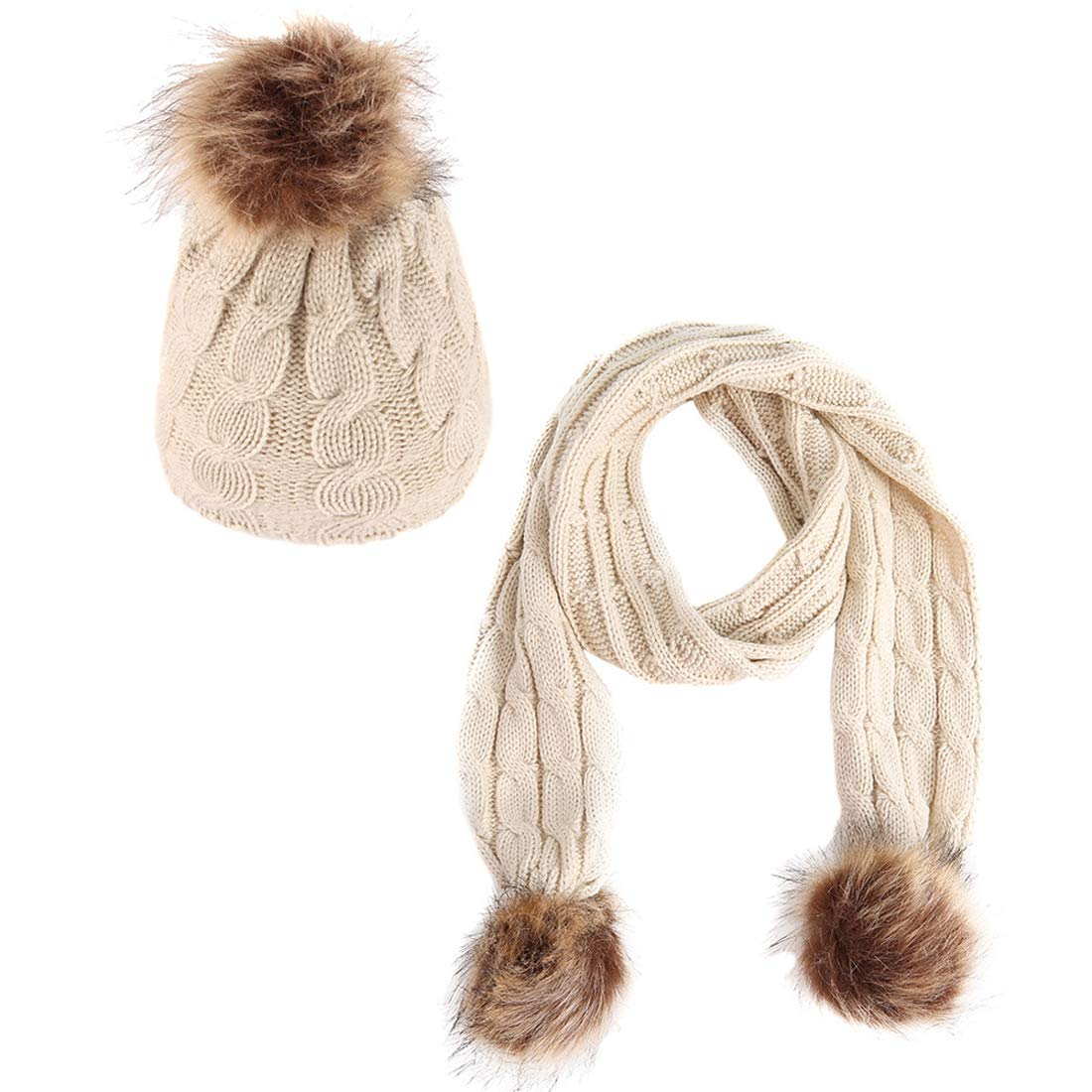 Belsen Winter Kids Warm Knitted Hat and Scarf Set with Faux Fur Pom Pom
