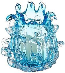 Aqua Blue Glass Candleholder