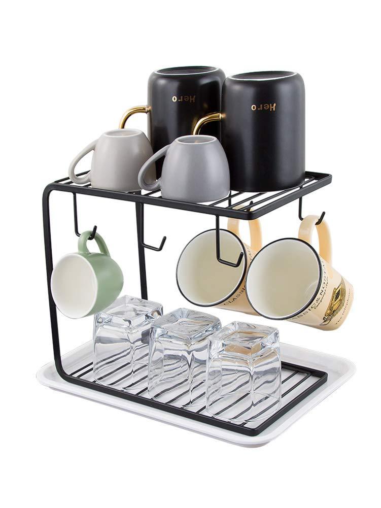 HUIYUE Stainless Steel Mug Holder,House Ware Kitchen cabinit Counter Shelf Organizer Mug Rack-B 29x21x22cm(11x8x9inch)