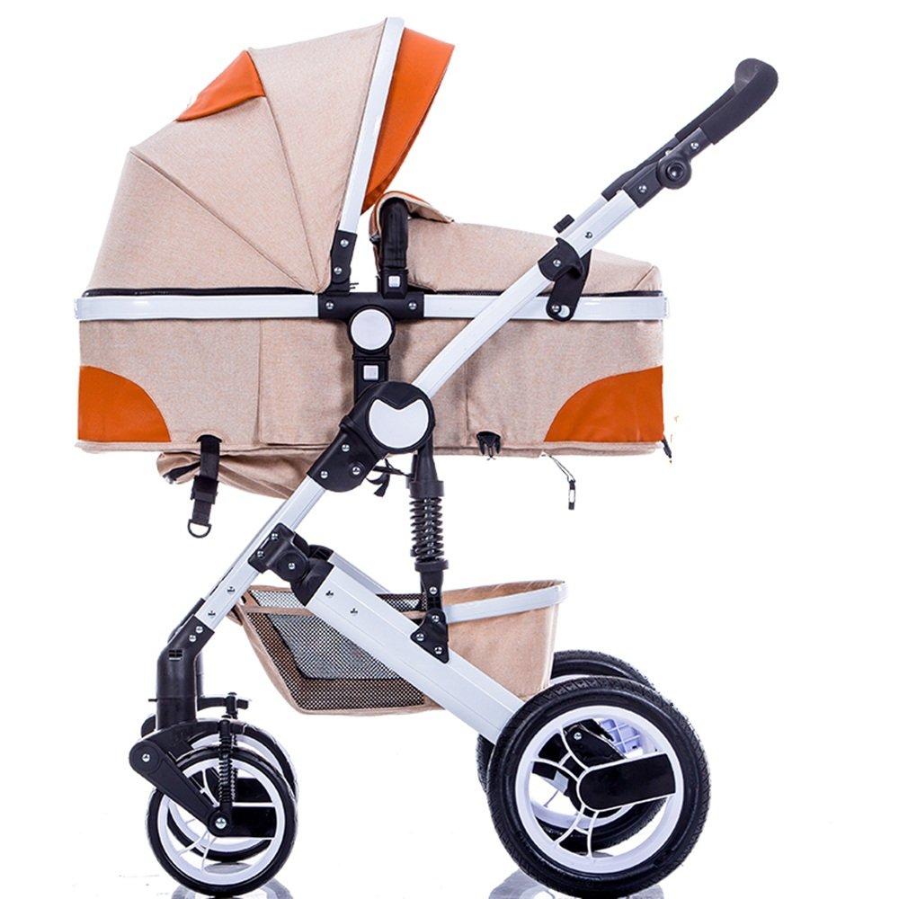 HAIZHEN マウンテンバイク ベビーシッターベビーベビーカー新生児の子供用ベビーカー0-36ヶ月古いベビーカーと耐候カバー 新生児 B07CG9DJ1Pオレンジ