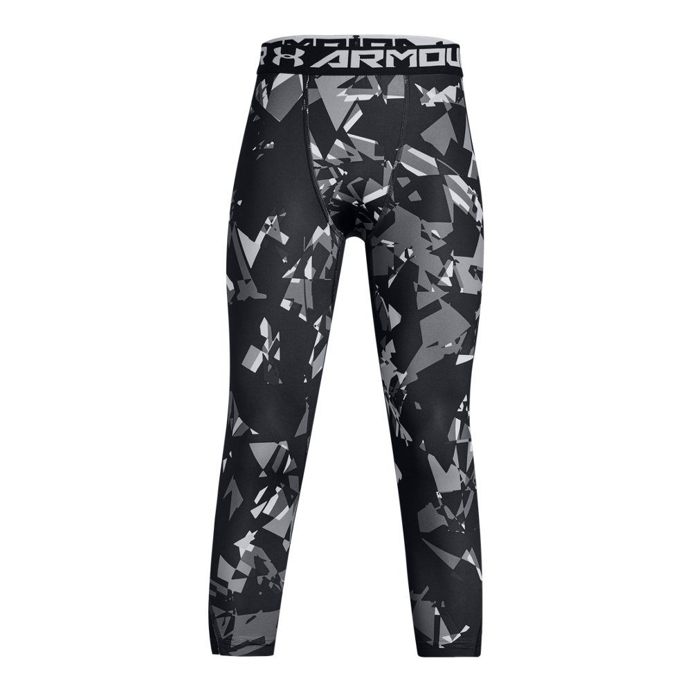 Under Armour Boys' HeatGear Armour ¾ Printed Leggings,Black (002)/White, Youth X-Large by Under Armour