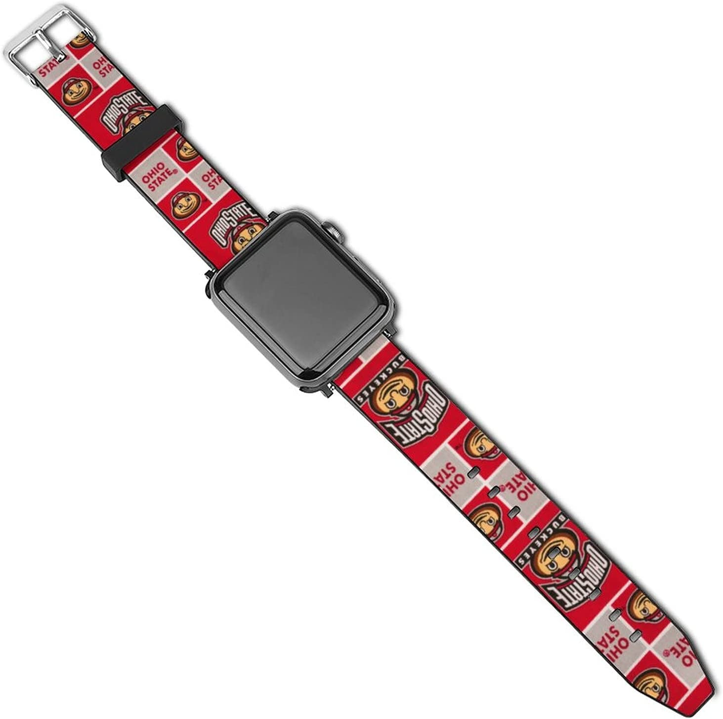 Leather Apple Watch Band O-HIO State Buckeyes Silicone Compatible with iWatch Series 5 4 3 2 1 Cartoon Design Strap 38mm/40mm