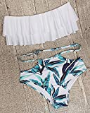 Tempt Me Women Two Piece Off Shoulder Ruffled Flounce Crop Bikini Top with Print Cut Out Bottoms White M Variant Image
