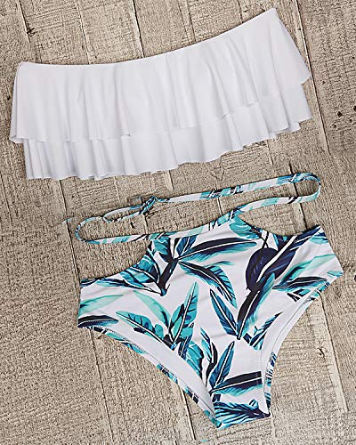 Tempt Me Women Two Piece Off Shoulder Ruffled Flounce Crop Bikini Top with Print Cut Out Bottoms White M by Tempt Me (Image #2)