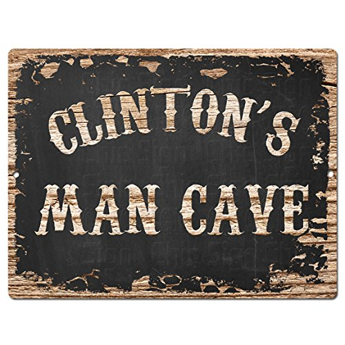 Chic Sign Vintage Retro Rustic CLINTON'S MAN CAVE 9 Inch x 12 Inch Metal Plate Store Home Room Garage Wall Door Decor - Clinton Stores