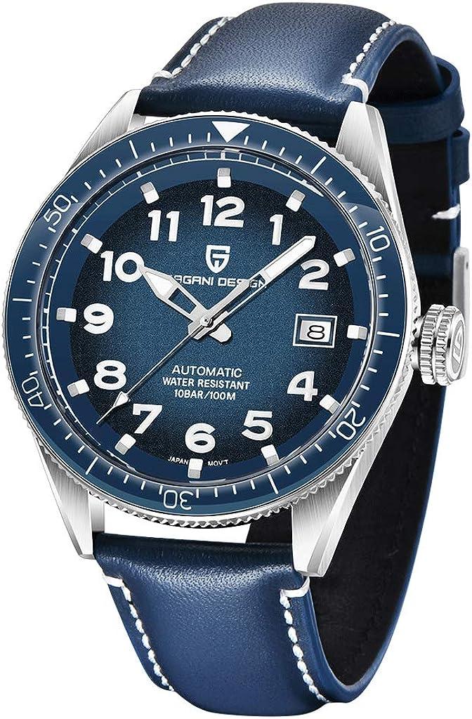 PAGANI DESIGN Reloj automático para hombre para buceadores, correa de acero inoxidable, resistente al agua, analógico, reloj de pulsera mecánico