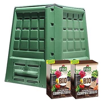 Compostador ecobox Fast 380 LT + 2 paquetes de Activador compostaje kg 4
