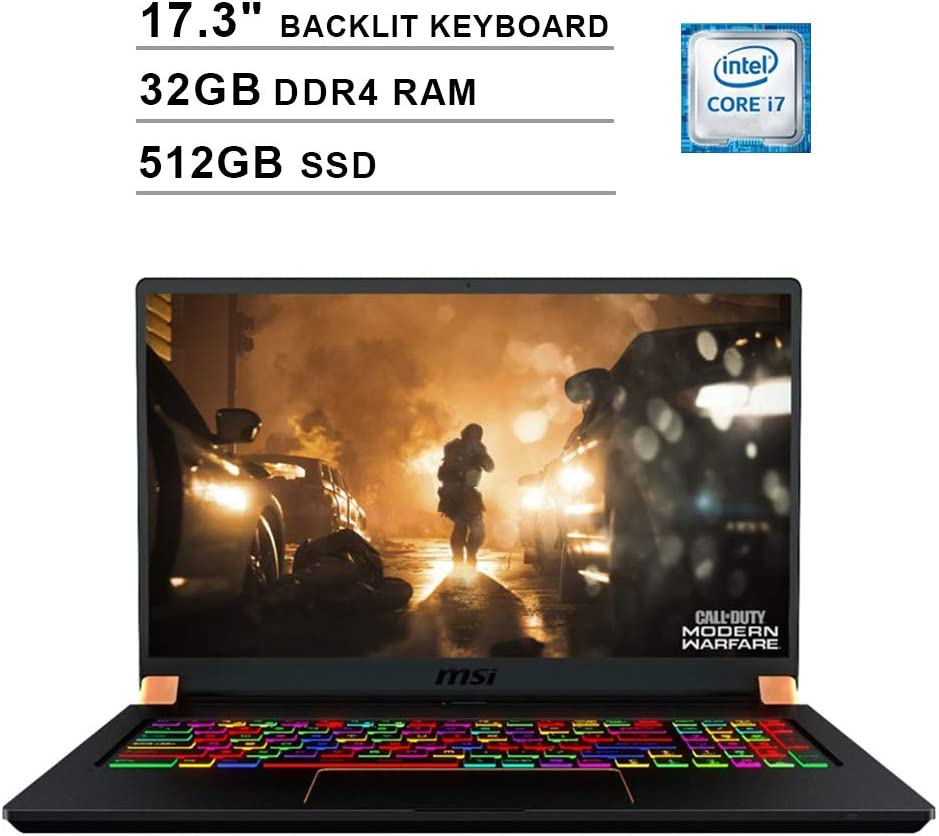 2020 MSI GS75 Stealth 17.3 Inch FHD 1080P Gaming Laptop (Intel 6-Core i7-9750H up to 4.5GHz, NVIDIA RTX 2070 Max-Q 8GB, 32GB DDR4 RAM, 512GB SSD, RGB Backlit KB, WiFi, HDMI, Win10)