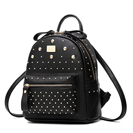 4844cc03fa Image Unavailable. Image not available for. Color  Women s Mini Rivet  Studded Leather Backpack Waterproof Purse Backpacks Travel Shoulder Bag  Black