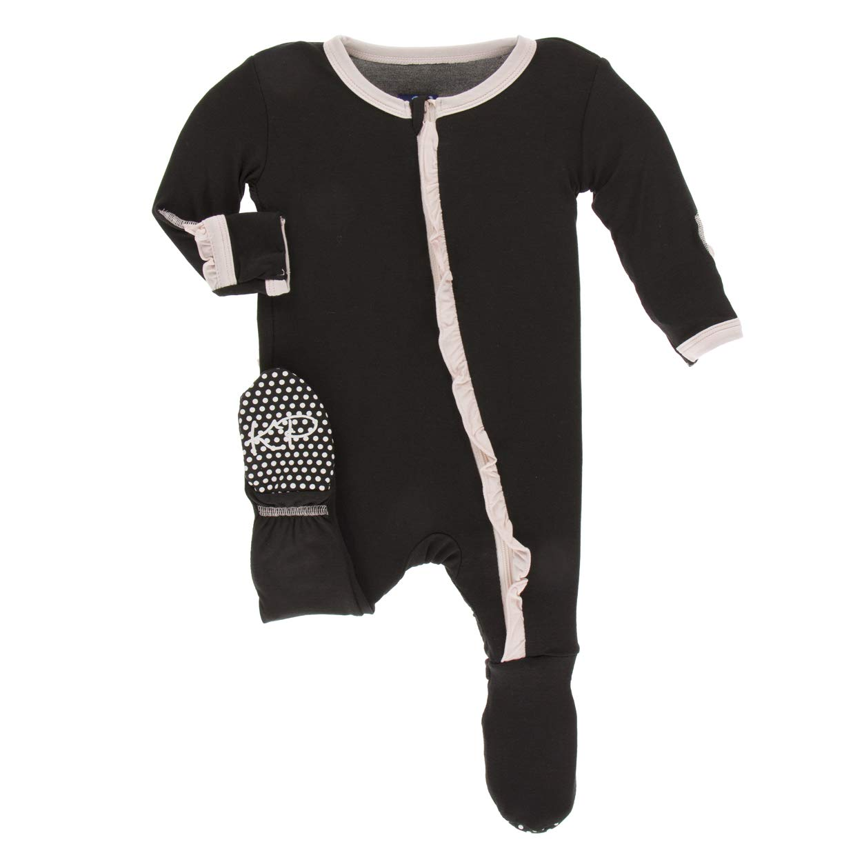 Kickee Pants Little Girls Solid Classic Ruffle Footie with Zipper