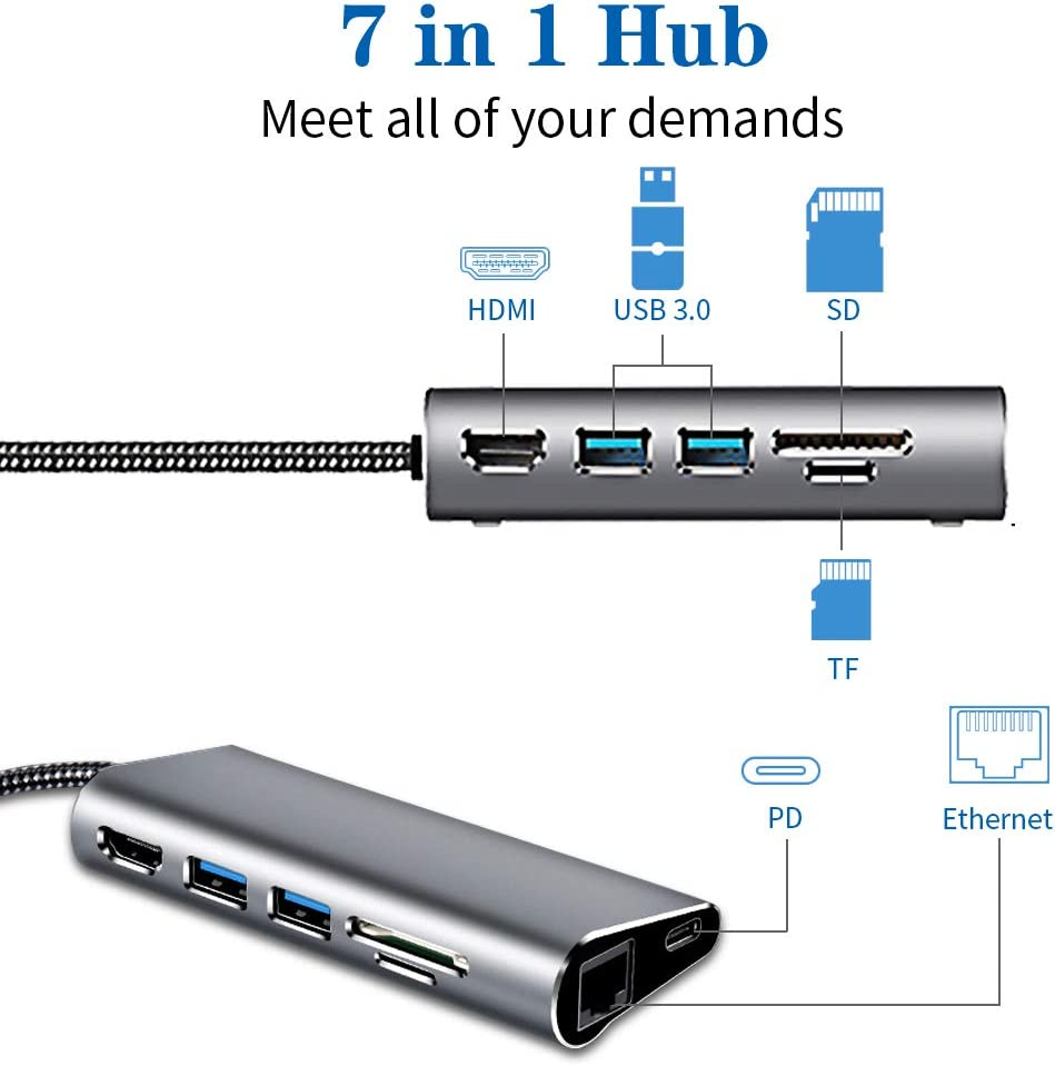 KULED 7 in 1 Multiport Type C Hub Aluminum Dongle with PD Power Delivery Portable for MacBook and More Devices 2 USB 3.0 Ports 4K HDMI Output SD//TF Card Reader USB C Hub Adapter Ethernet Port