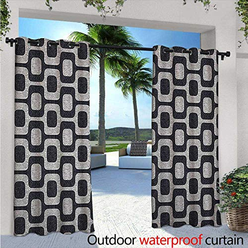 (Abstract Indoor/Outdoor Single Panel Print Window Curtain Modern White and Black Wave Pavement Pattern Fractal Looking Mosaic Silver Grommet Top Drape W108 x L108 Black Pale Grey)