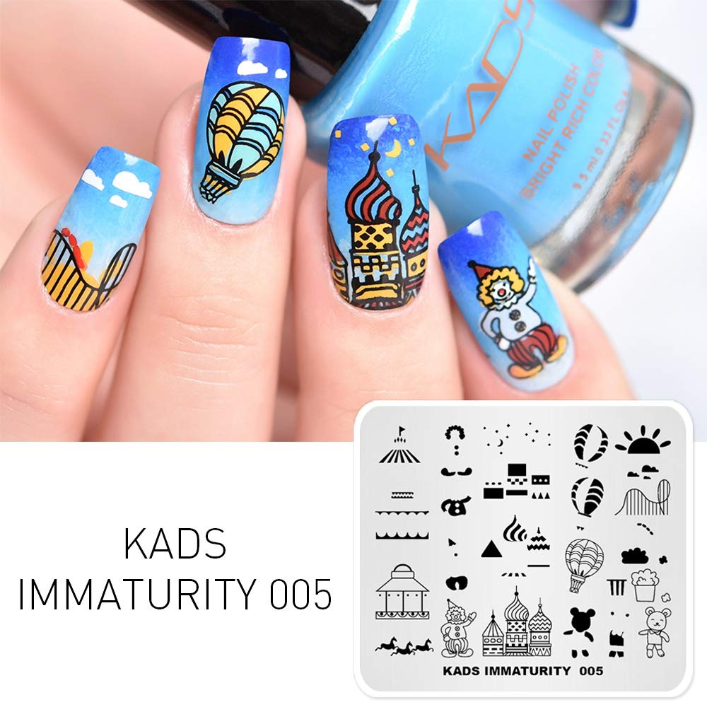KADS Stamping Plates Ice Cream Immaturity Manicure Template Nail Art Image  Stamp Nail Design Tools...