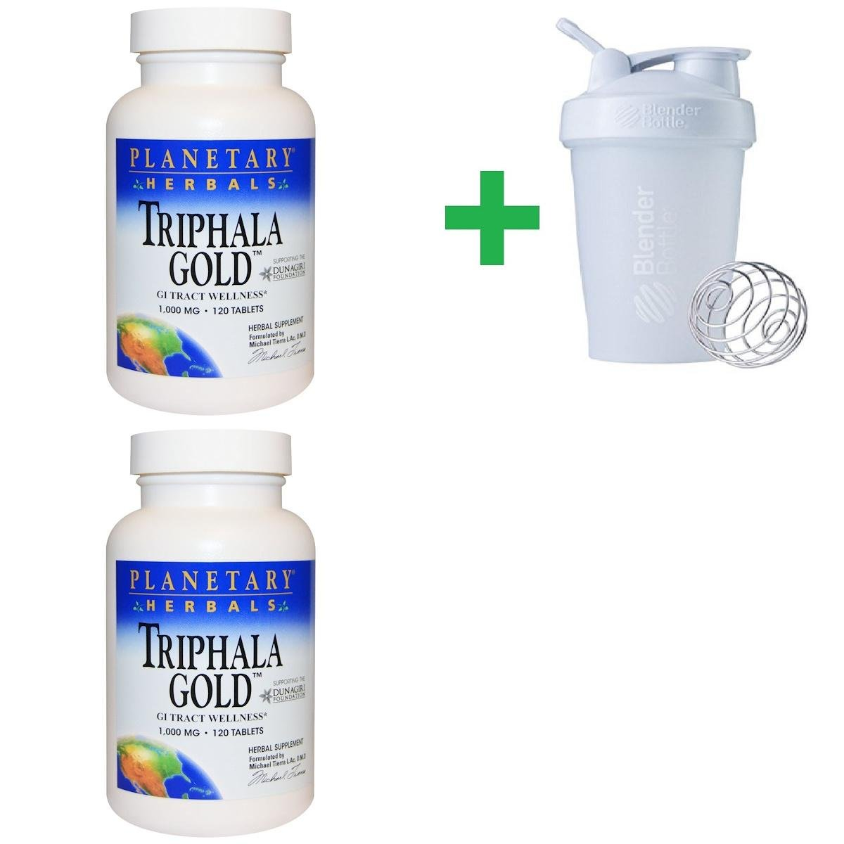 Planetary Herbals, Triphala Gold, GI Tract Wellness, 1,000 mg, 120 Tablets(2 PCS)+ Assorted Sundesa, BlenderBottle, Classic with Loop, 20 oz