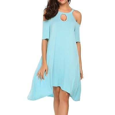 ACEVOG Women's Spaghetti Cold Shoulder Tunic Top T-Shirt Swing Dress at Women's Clothing store