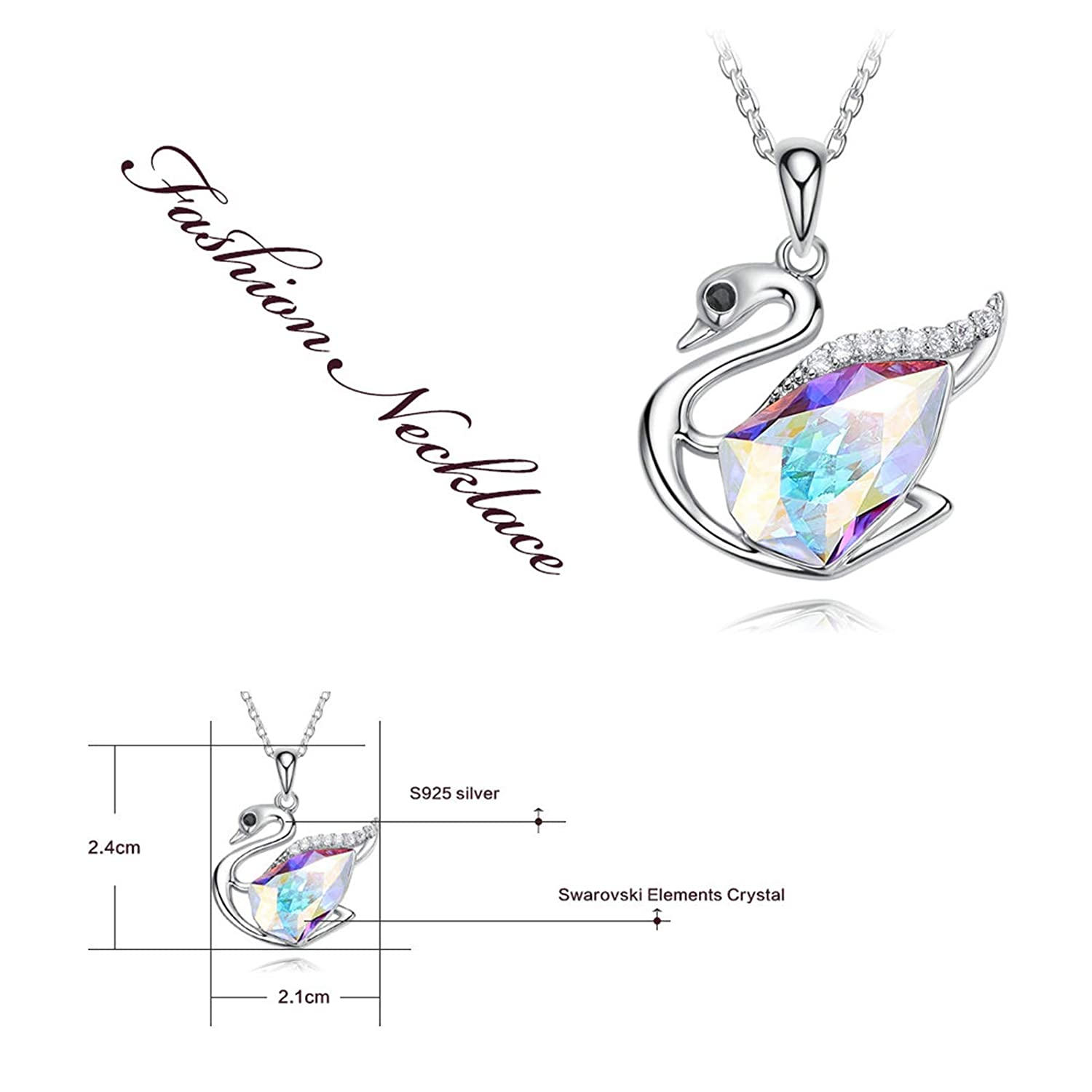 EoCot Silver Plated Swan Necklace for Women Triangle Color Changing Australian Crystal Pendant Necklaces