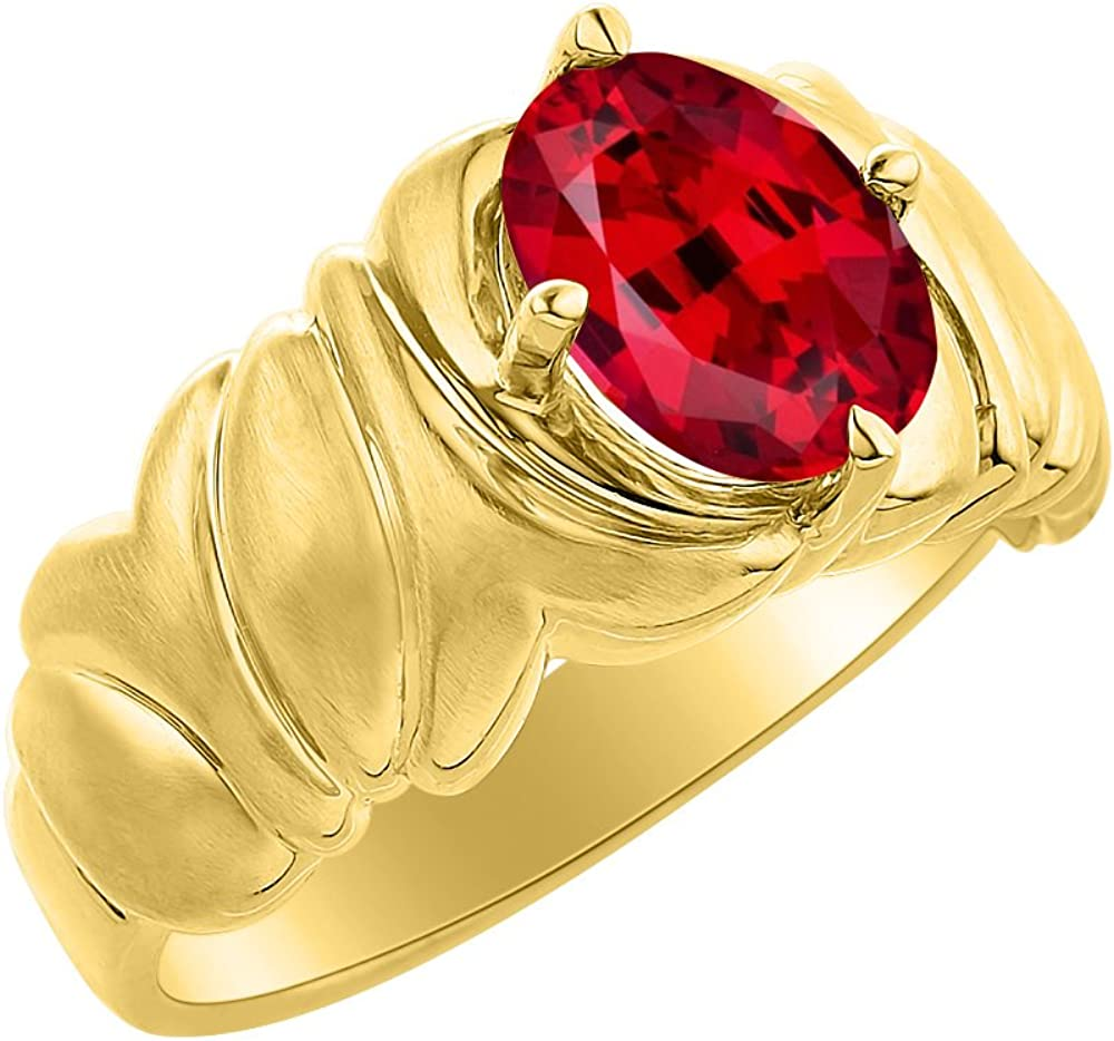 Color Stone Birthstone Ring Solitaire Ruby Ring Set In Yellow Gold Plated Silver