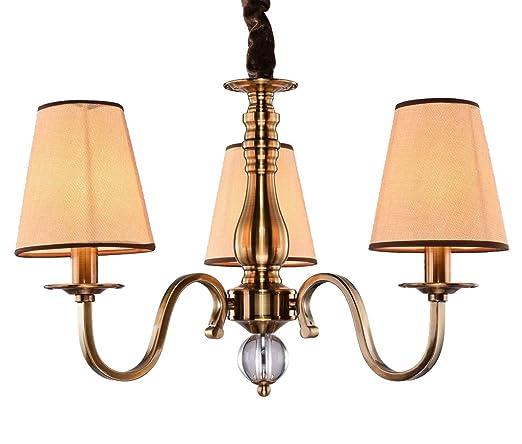 WENSENY Lámparas de araña Latón antiguo Candelabro 3 luces ...