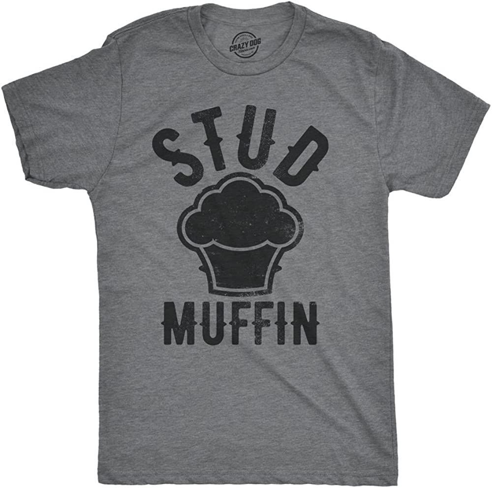Mens Stud Muffin T Shirt Funny Graphic Tee for Guys Novelty Dad Joke Top