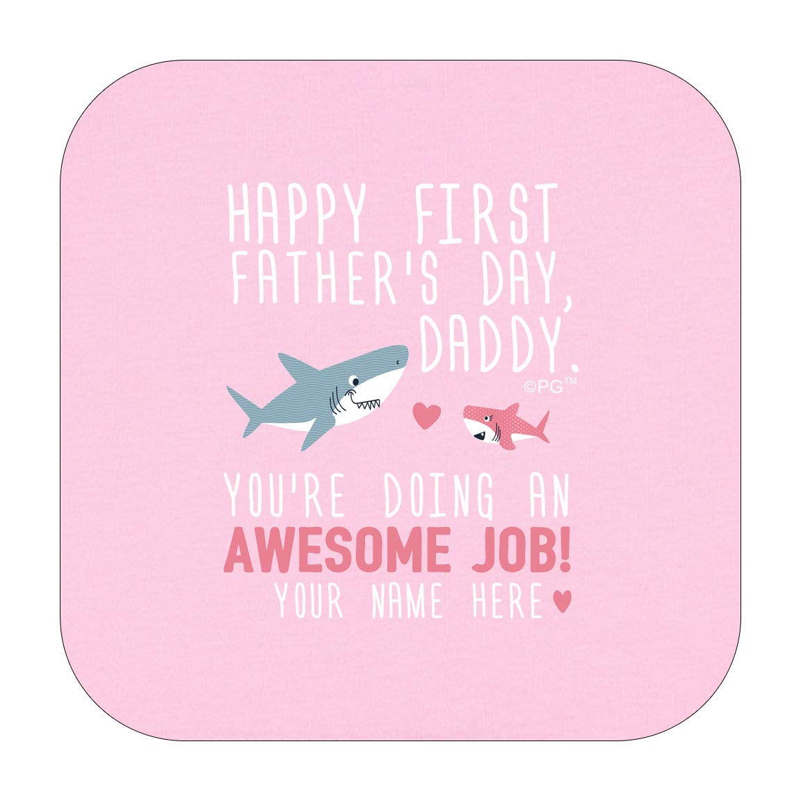Personalized Gifts Happy First Fathers Day Daddy Shark Pink Infant T-Shirt