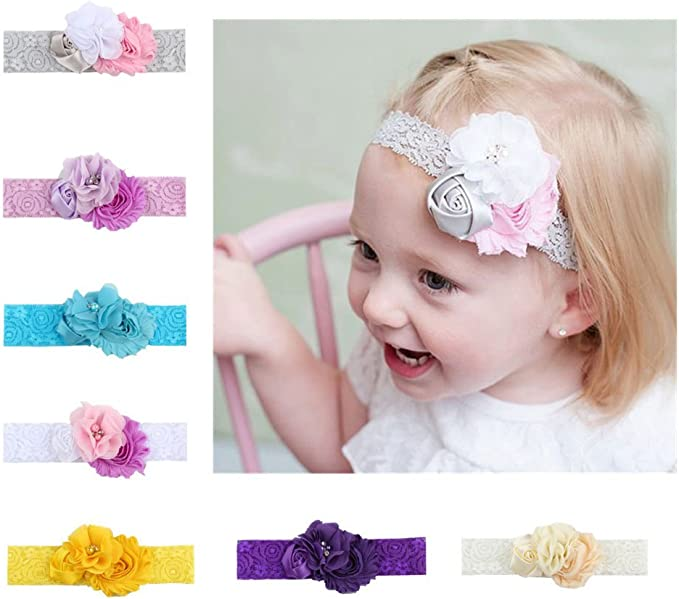 Kids Girl Baby Headband Toddler Lace Bow Flower Hair Band Accessories 7pcs Gift
