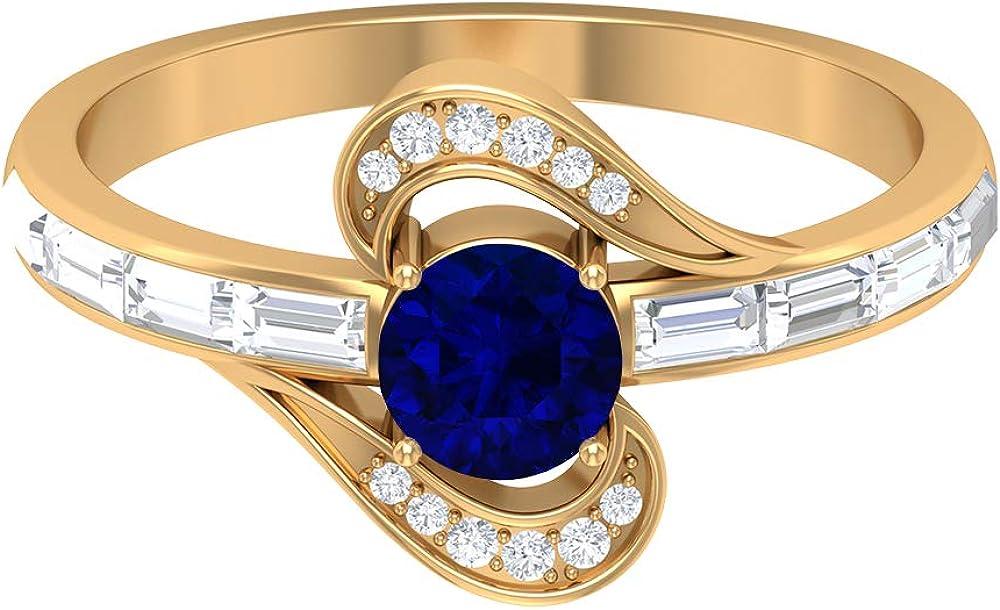 Anillo de compromiso con zafiro difuso de 1,11 quilates, piedras preciosas de forma redonda, diamante HI-SI de 5 mm, anillo de compromiso solitario, anillo de diamante baguette, anillo de piedra later