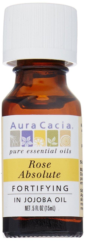 Aura Cacia Essential Oil Rose Absolute With Jojoba .5 Oz