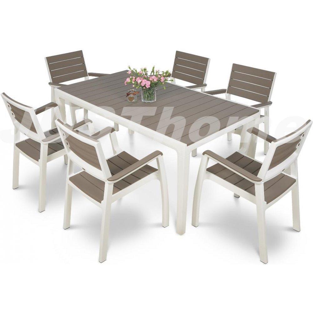 JUSThome Essgruppe Gartenmöbel Gartengarnitur FLORENCE 6x Stuhl + 1x Tisch Weiß Braun