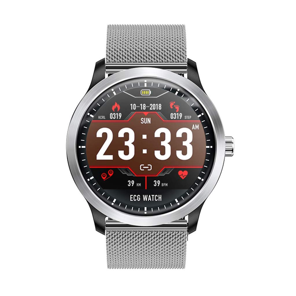 JDgoods N58 Smart Watch,1.22Inch ECG Display Blood Pressure Heart Rate Monitor 3D UI Tracker Smart Watch For Android & IOS (Silver)