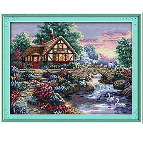 Stamped Cross Stitch Kits - Counted Cross Stitch Kit, Cross-Stitching Patterns Beautiful Garden 11CT Pre-Printed Fabric - DIY Art Crafts & Sewing Needlepoints Kit for Home Decor 27''x22'' (Cross Stitch Printed)