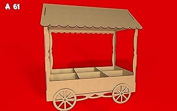 Kit para hacer carrito de chuches de madera DM para candy bar mesa dulce. Medidas: 67cm de alto x 60 cm de ancho x 34 cm de fondo: Amazon.es: Hogar