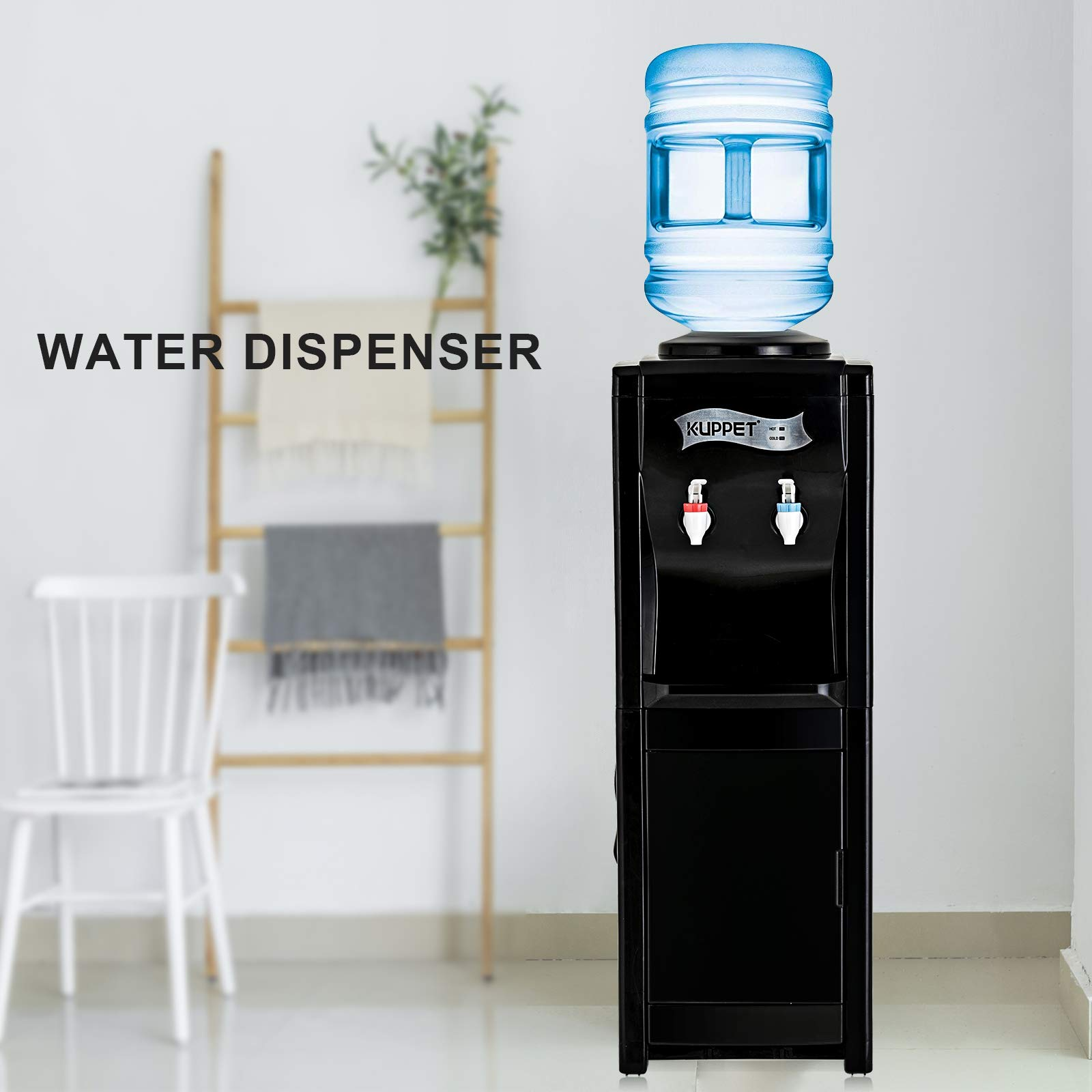 KUPPET Water Cooler Dispenser-Top Loading Freestanding Water Dispenser with Storage Cabinet, 5 Gallon, Two Temperature Settings-Hot(185℉-203℉), Normal Temperature(50℉-59℉), BLACK(32'', Black) by KUPPET (Image #8)