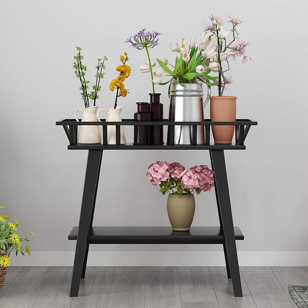 WH-Stand di fiori Wang Chun Supporto da Terra per Interni Mobile Portaoggetti da Soggiorno Nordic in Ferro Battuto Doppio Rack (Nero, Bianco) ++ (colore   Nero)